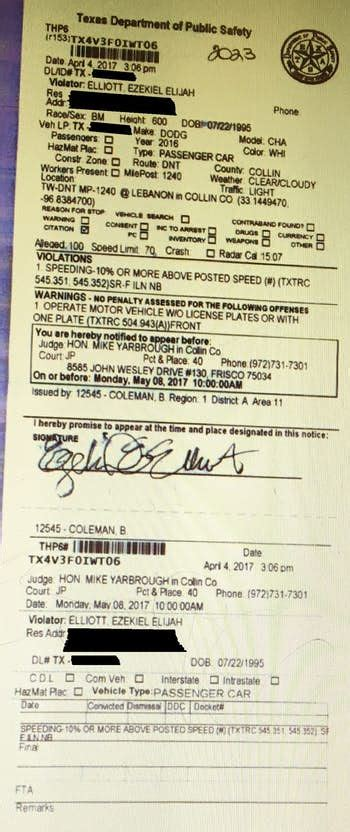 Speeding Ticket by Cowboys Rb Ezekiel Elliott Appealing Conviction For