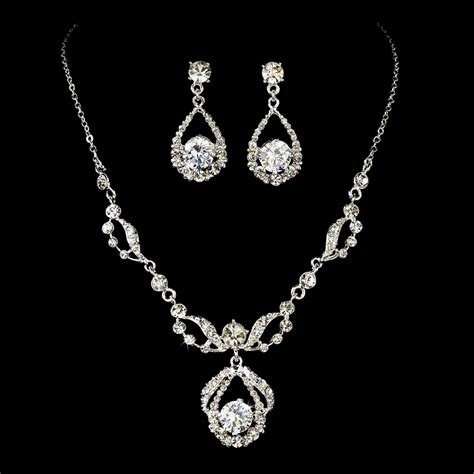 elegant diamante bridal jewelry set silver rhinestone