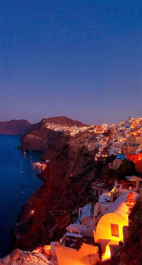 Greece Channel Oia By Night Santorini Greece