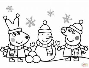 Peppa And Rebecca Are Making Snowman Coloring Page Free Printable Coloring Pages