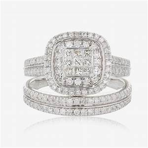 18ct white gold diamond bridal set 100ct for Warren james wedding rings
