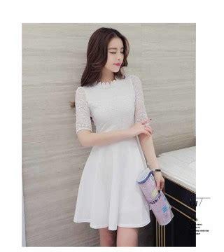 dress putih elegant  import  model terbaru