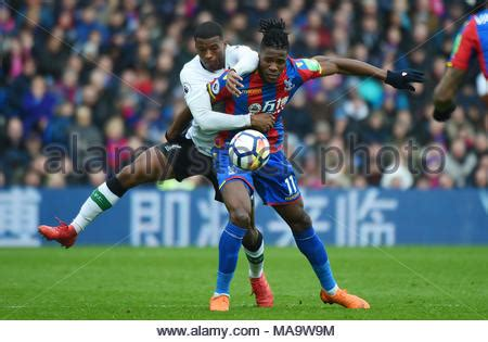 Wilfried Zaha of Crystal Palace is seen ahead of the match ...