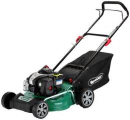 qualcast 46cm wide push petrol lawnmower 125cc exp