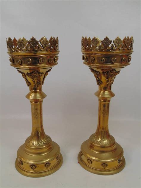 church candle holders two large church brass altar candle holders candlesticks