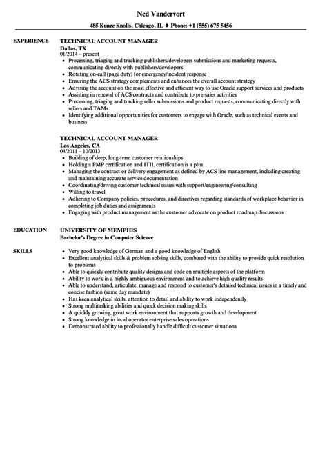 Technical Program Manager Resume Sle by Technical Account Manager Resume Sles Velvet