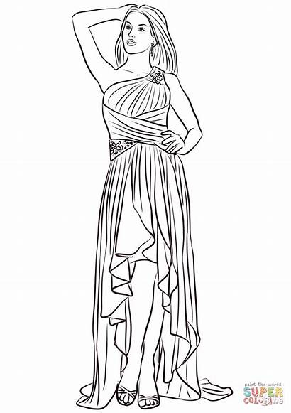 Coloring Pages Prom Low Shoulder Printable Drawing
