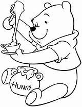 Pooh Honey Winnie Coloring Bear Pages Put Disney Bowl Tea Drawing Enjoying Jar Drawings Sheets Coloringsky Colouring Para Sheet Colorear sketch template