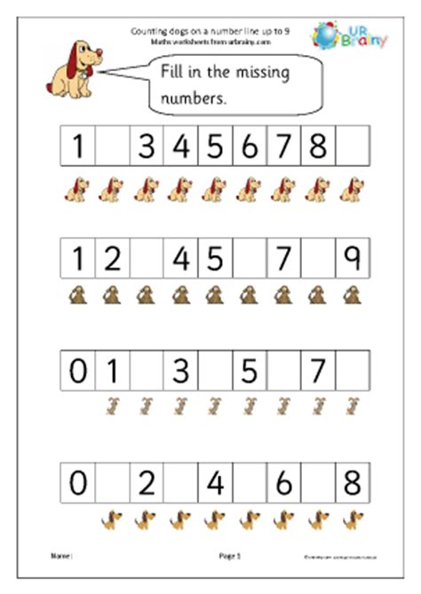 counting dogs a number line number lines maths worksheets for later reception age 4 5