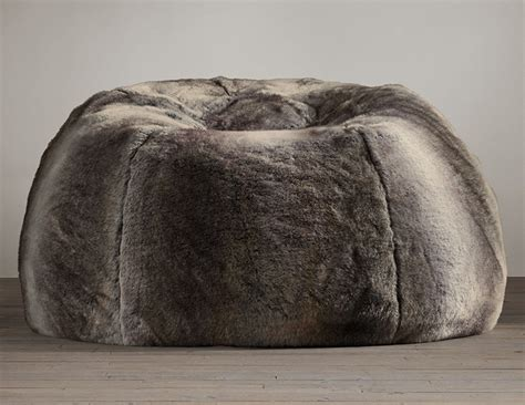 grand luxe faux wolf fur bean bag chair the green