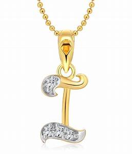 Vighnaharta I Letter CZ Gold and Rhodium Plated Pendant ...