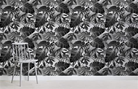 black  white illustration leaves wall mural murals