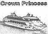 Cruise Coloring Ship Crown Princess Netart Ships sketch template