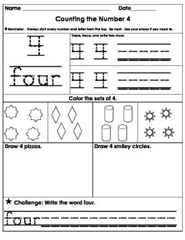 number study worksheets 1 10 number concepts by sue