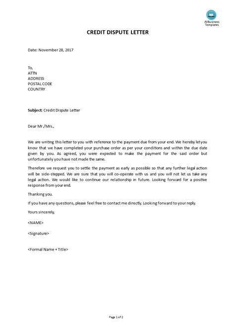 credit dispute letter template pdf free credit dispute letter templates at allbusinesstemplates