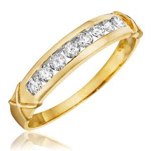 gold wedding band womens 1 3 ct t w 39 s wedding band 14k yellow gold my trio rings bt110y14kl