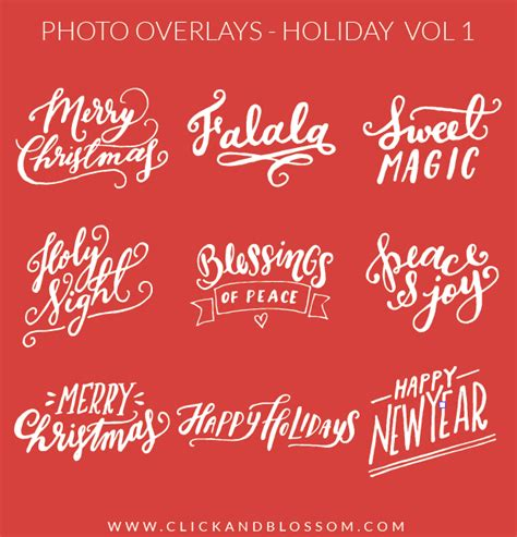 christmas photo overlays merry christmas psd lettering phrases design