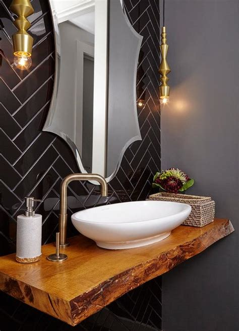 contemporary powder room floating sink vanity