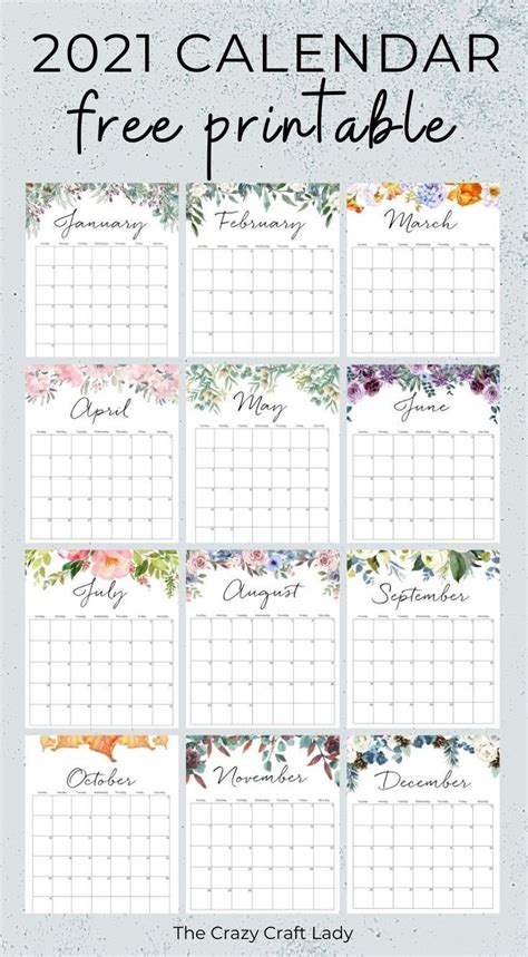 printable floral wall calendar
