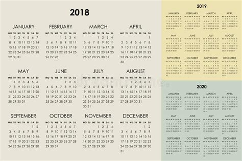 vector calendar template years stock vector
