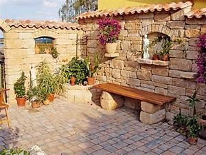 Mediterrane Gärten Bilder : bilder mediterrane gartenmauern garten terrasse mediterran kunstrasen garten nowaday garden ~ Orissabook.com Haus und Dekorationen