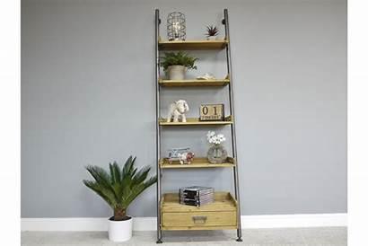 Ladder Industrial Shelves Wood Drawer Shelving Unit
