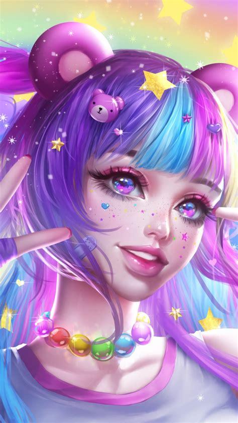 wallpaper anime girl strawberry rainbow colorful hd