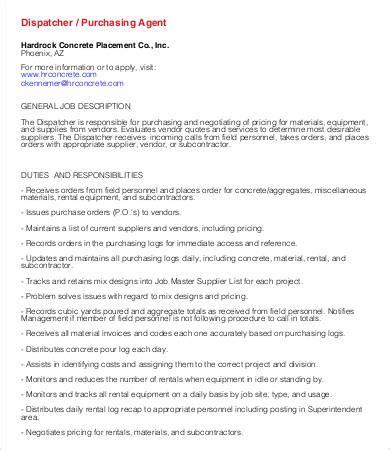 dispatcher description templates 9 free pdf format