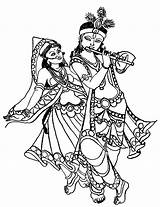 Krishna Coloring Radha Flute Dancing Drawing Dance Playing While Line Play Clipart His Colouring Drawings Indian Printable Magic Colornimbus Nimbus sketch template