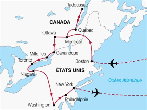 Carte Etats Unis Canada Avec Villes by Circuit Canada Etats Unis Canada Et Usa 14 Jours