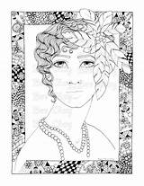 Coloring Pages Flapper Adult Printable Flappers Colour sketch template