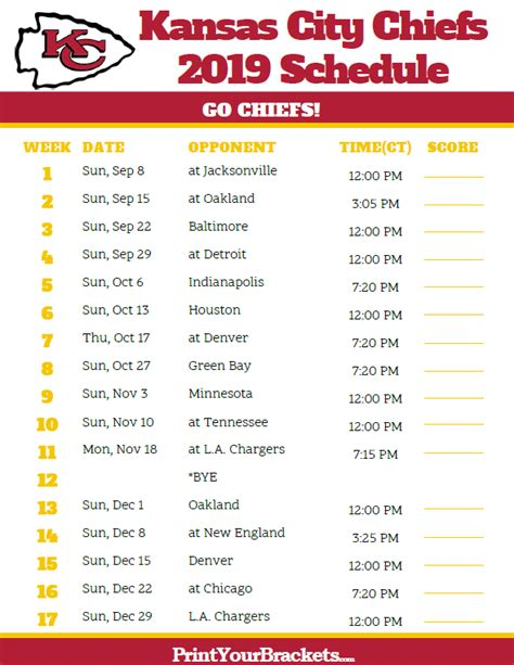 kansas city chiefs  schedule central time printable