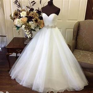 simple ball gown strapless sweetheart tulle wedding dress With wedding dress sashes with crystals