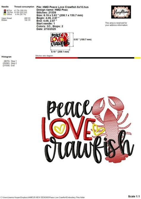 peace love crawfish embroidery  cutting options