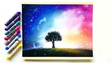 surrealistic galaxy drawing  pastel pencils  soft