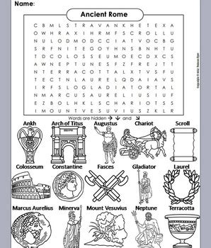 ancient rome roman empire word search coloring sheet  science spot