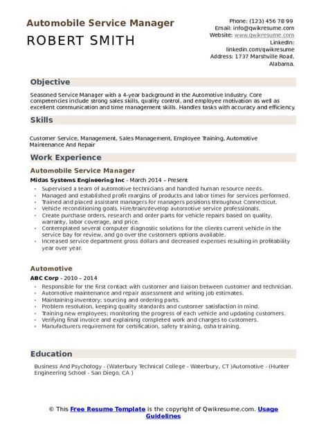 Auto Resume by 14 15 Auto Service Manager Resume Southbeachcafesf