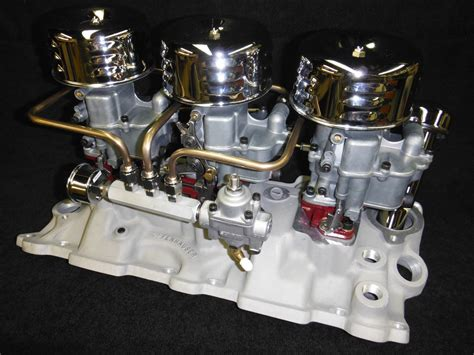 sold offenhauser chevy tri power intake manifold holley 94 carbs 3x2 sbc the h a m b