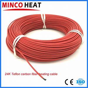 15m 24k Teflon Jacket Carbon Fiber Heating Cable Hotline Wire Floor Heating Wire 17 Ohm  M