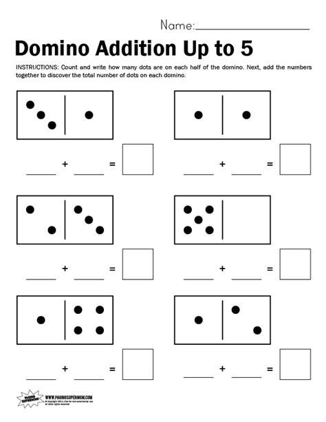 domino math worksheet adding up to 5 kindergarten