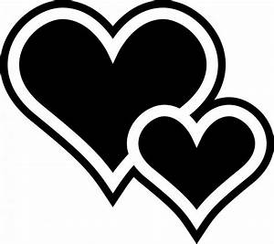 Two Hearts Black Clipart - Clipart Suggest