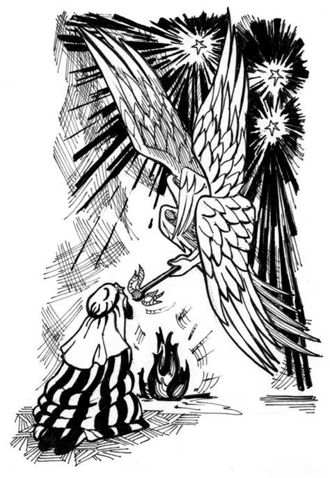isaiah  illustration isaiah purified  seraphim saint marys press