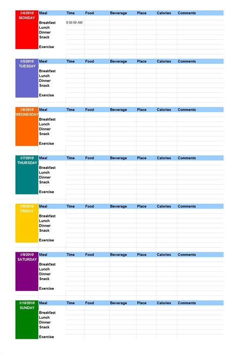 40 Simple Food Diary Templates & Food Log Examples