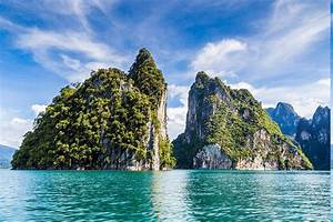 Island, Limestone, Sea, Turquoise, Water, Tropical, Thailand, Clouds, Cliff, Mountain, Nature