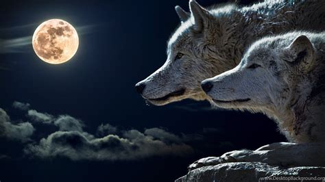 Wolves And Full Moon HD Wallpapers. 4K Wallpapers Desktop ...