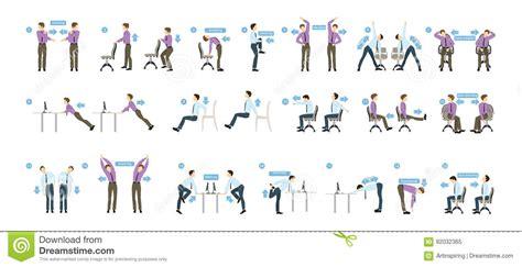 exercices au bureau exercices de sport pour le bureau illustration de vecteur
