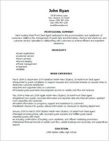 Front Desk Resume Sles by Professional Hotel Front Desk Resume Templates To