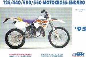 1995 Ktm 125 440 500 550 Motorcycle Owners Manual