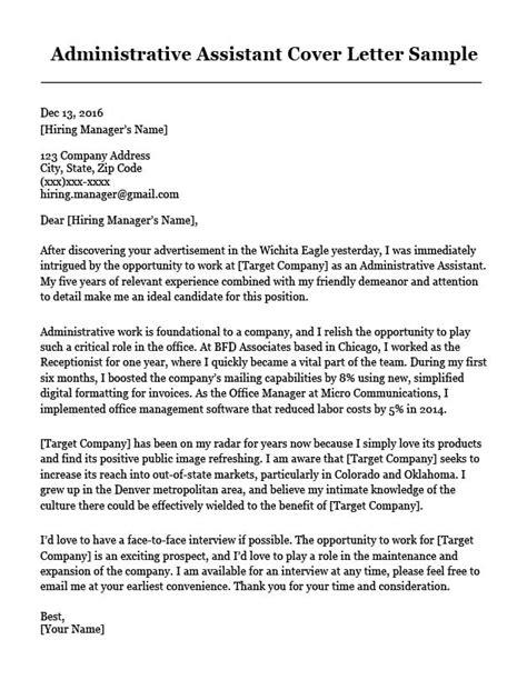 administrative assistant cover letter sample resume