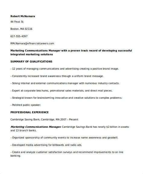 Communications Director Resume by Marketing Resume Sles For Successful Hunters